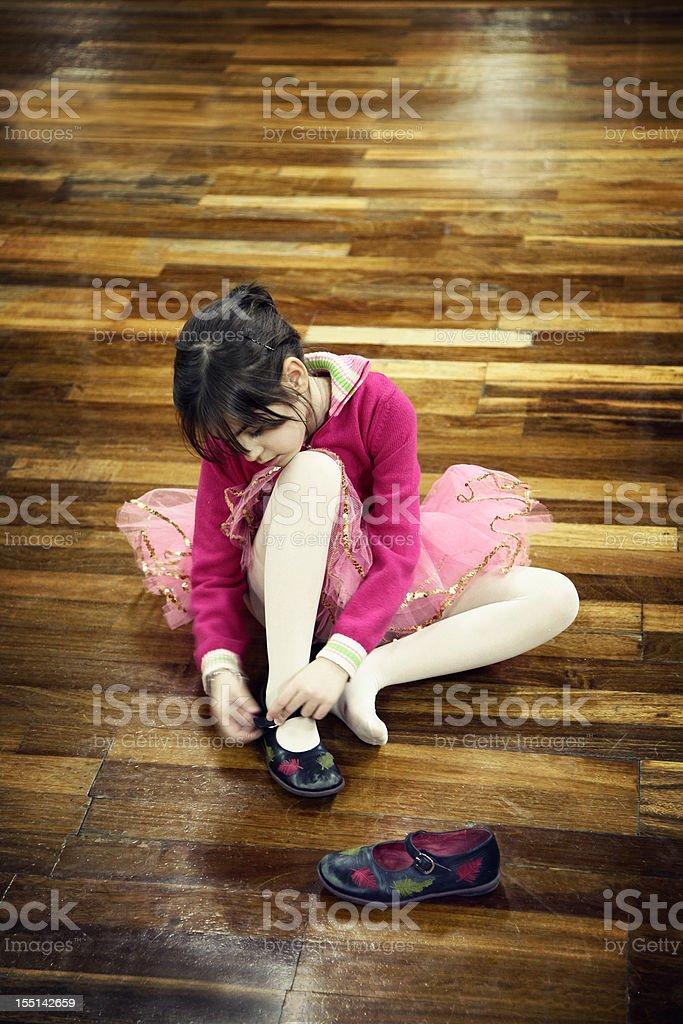 Little ballerina on dance floor royalty-free stock photo
