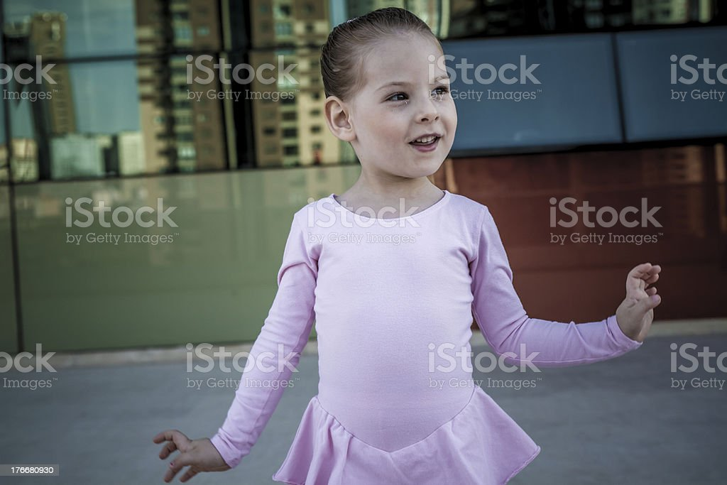 Little Ballerina with Pink Costume Smiling royalty-free stock photo