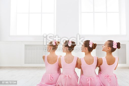 istock Little ballerinas in ballet studio 819678194