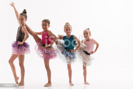 466300721 istock photo Little ballerinas in dance studio 1185631778