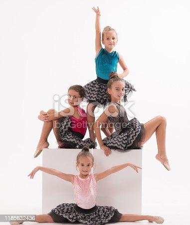 466300721 istock photo Little ballerinas in dance studio 1185632436