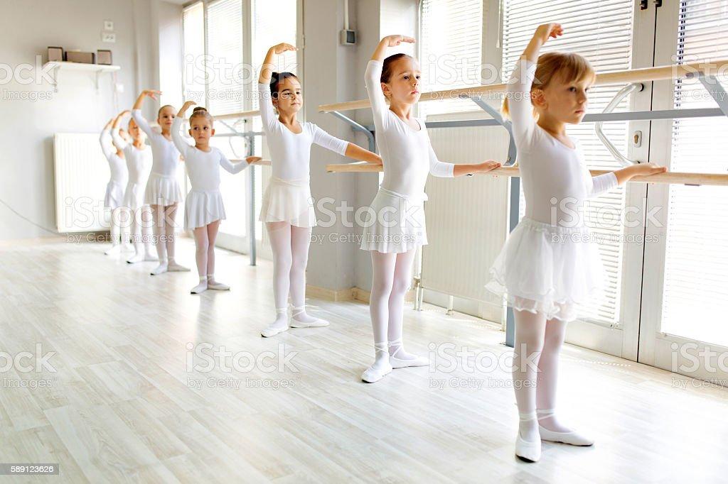Foto De Little Ballerinas Using Barre While Practicing In Dance Studio E Mais Fotos De Stock De 4 5 Anos Istock
