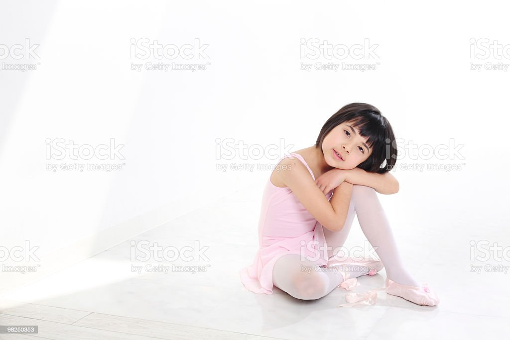 Little ballet dancer in morning sunlight royalty-free stock photo