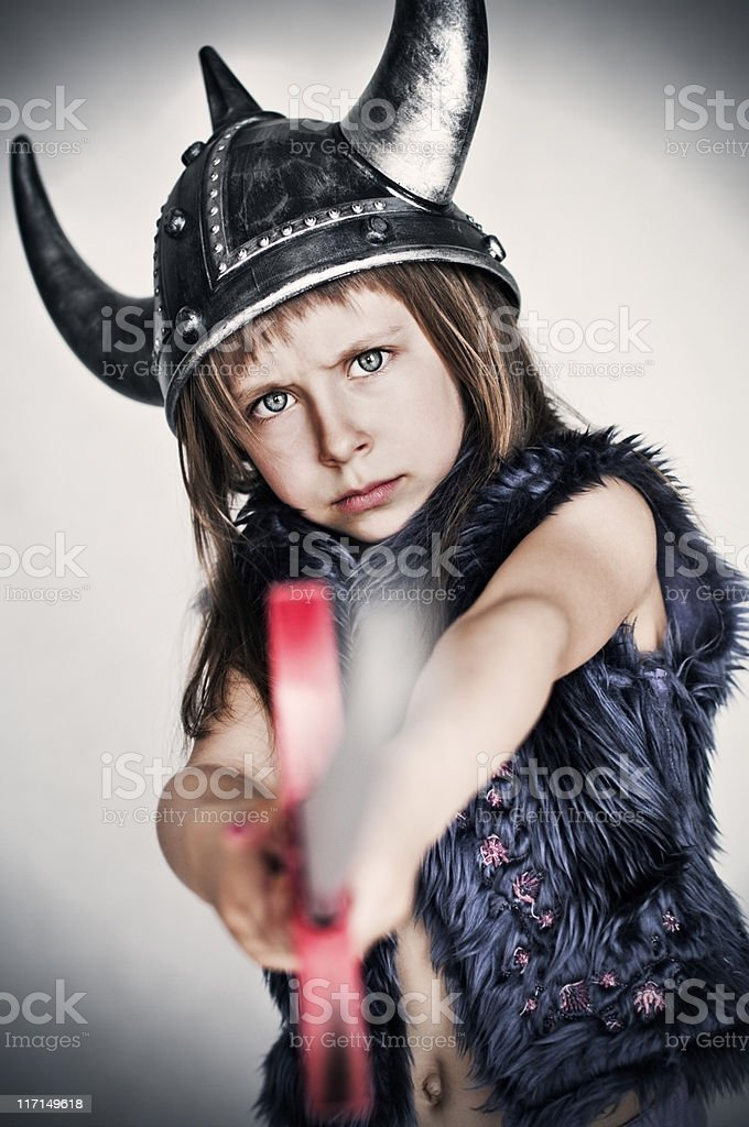 Little barbarian Warrior-Princess royalty-free stock photo