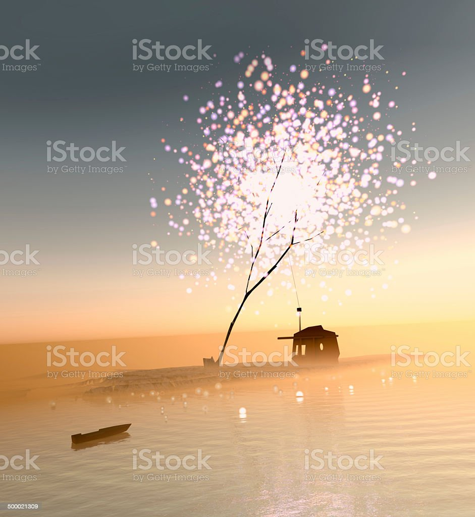 Little barn sitting under a strange fireworks tree stock photo