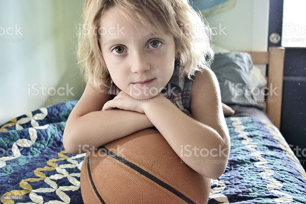 Little basketball star stock photo