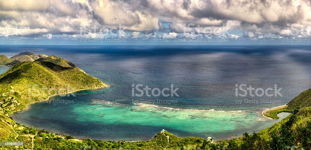 Little Bay and Dog Bay Virgin Gorda Panoramic stock photo