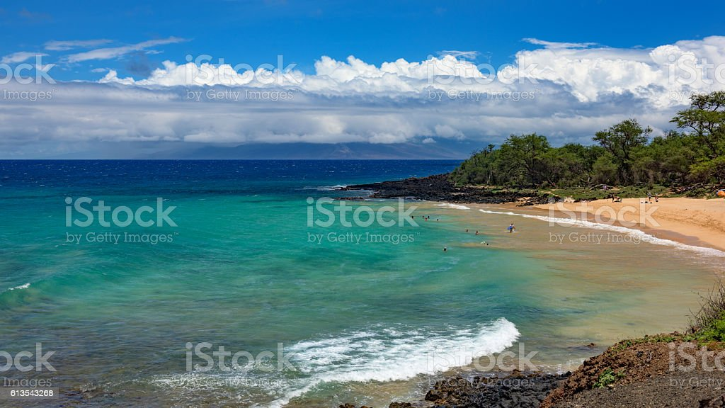 Little beach at Makena State Park on Maui, Hawaii stock photo