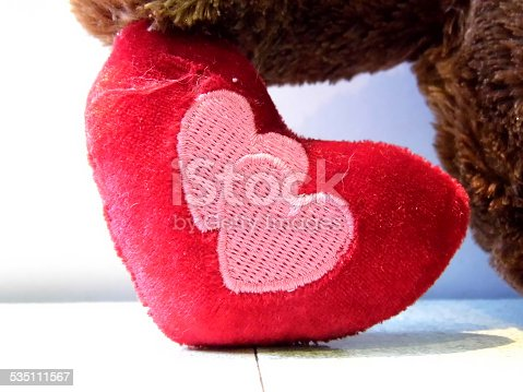 lovely little bear with the plush heart, valentine's Day .