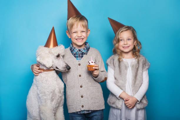 etwas schönes mädchen und hübscher junge mit hund feiern geburtstag. freundschaft. familie. studio-porträt über blauem hintergrund - modetorten stock-fotos und bilder