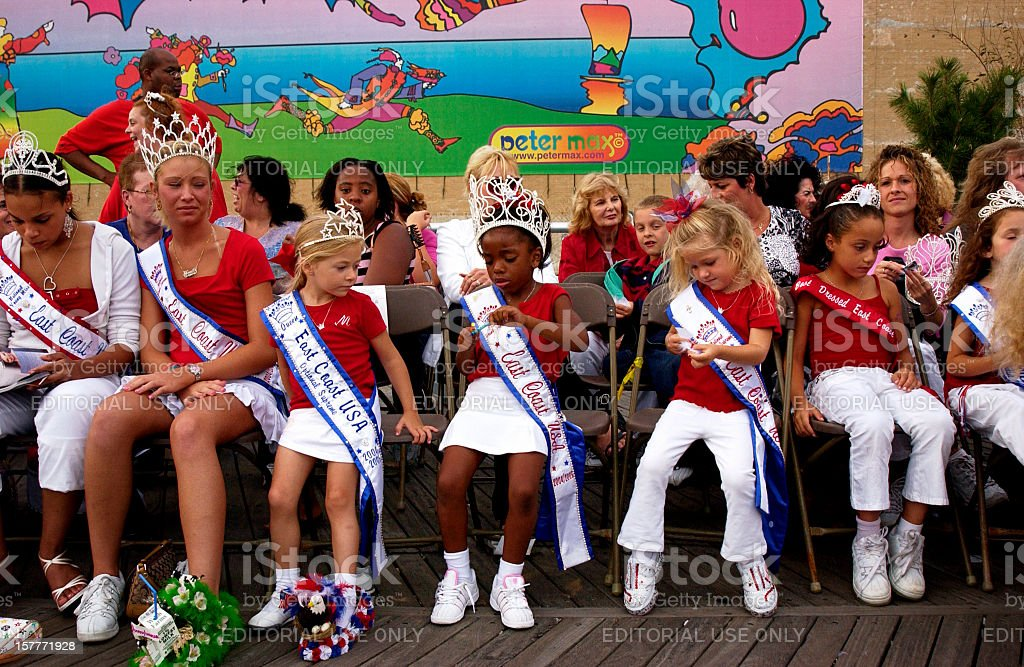 Little Beauty Queens at the Miss America competition Atlantic City stock photo