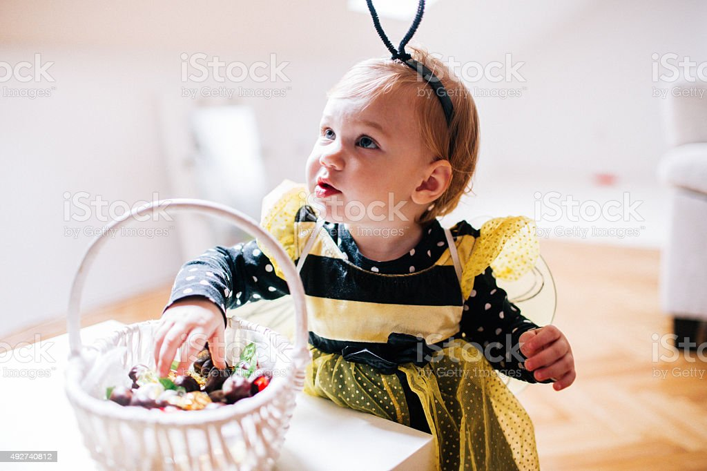 Little bee is ready for the Halloween stock photo