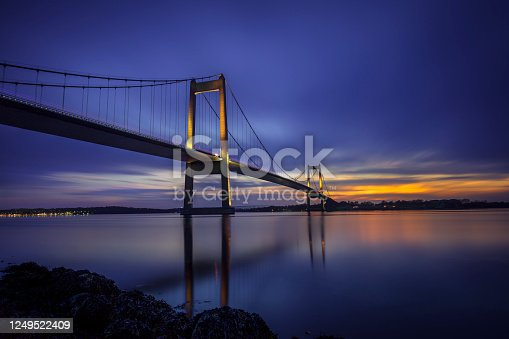 The New Little Belt Bridge linking Fyn and Jutland, Denmark at sunset