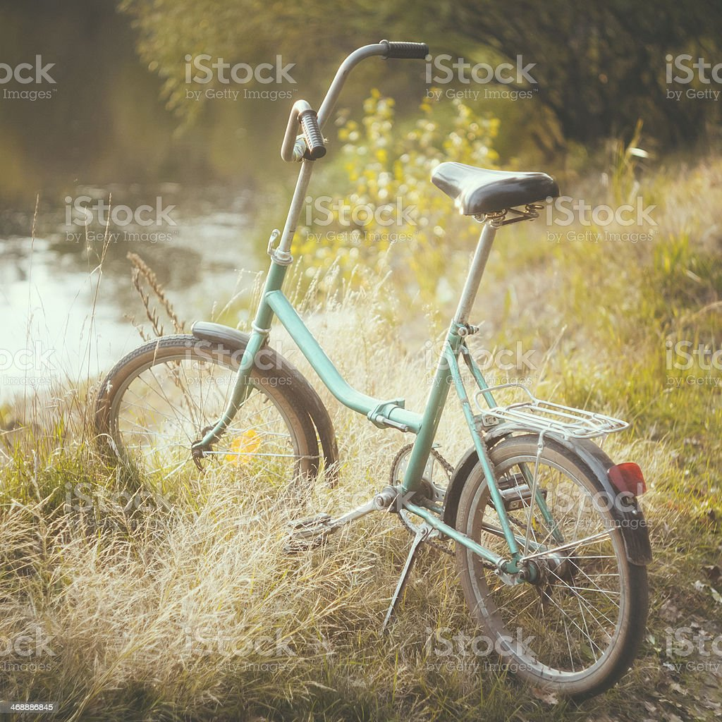 Little bicycle standing on green summer meadow royalty-free stock photo