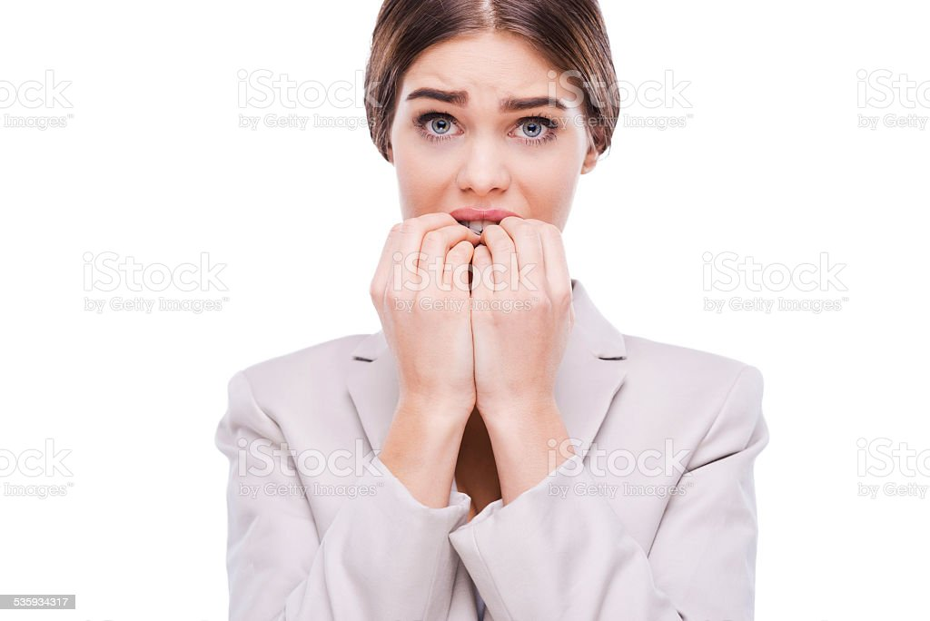 little bit nervous about this business. stock photo