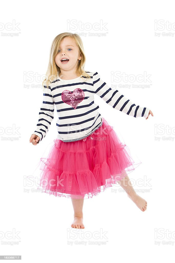 Little blond girl dancing on white background royalty-free stock photo