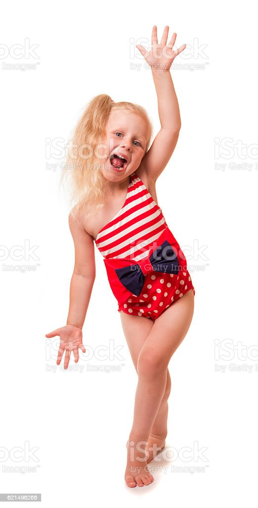 Little blond girl in swimsuit, her hand on top, isolated. foto stock royalty-free
