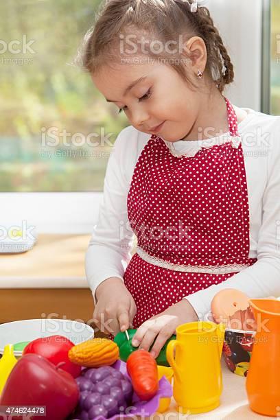 Little blond girl playing in kitchen picture id474624478?b=1&k=6&m=474624478&s=612x612&h= kxhdsijhnkezht2bvvjvfq5ctjidbmppsthxxeomk0=