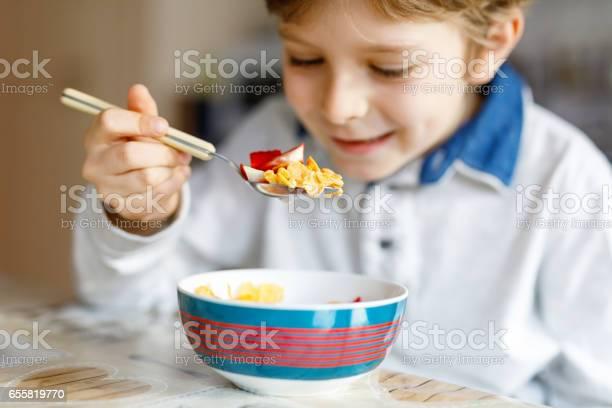 Little blond school kid boy eating cereals with milk and berries picture id655819770?b=1&k=6&m=655819770&s=612x612&h=qabw8ftqs0royov2amlsb0 ojjhxnpfcwb2vmsd3byy=