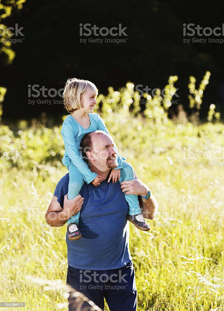 Little blonde girl enjoying riding on dad's shoulders in meadow stock photo