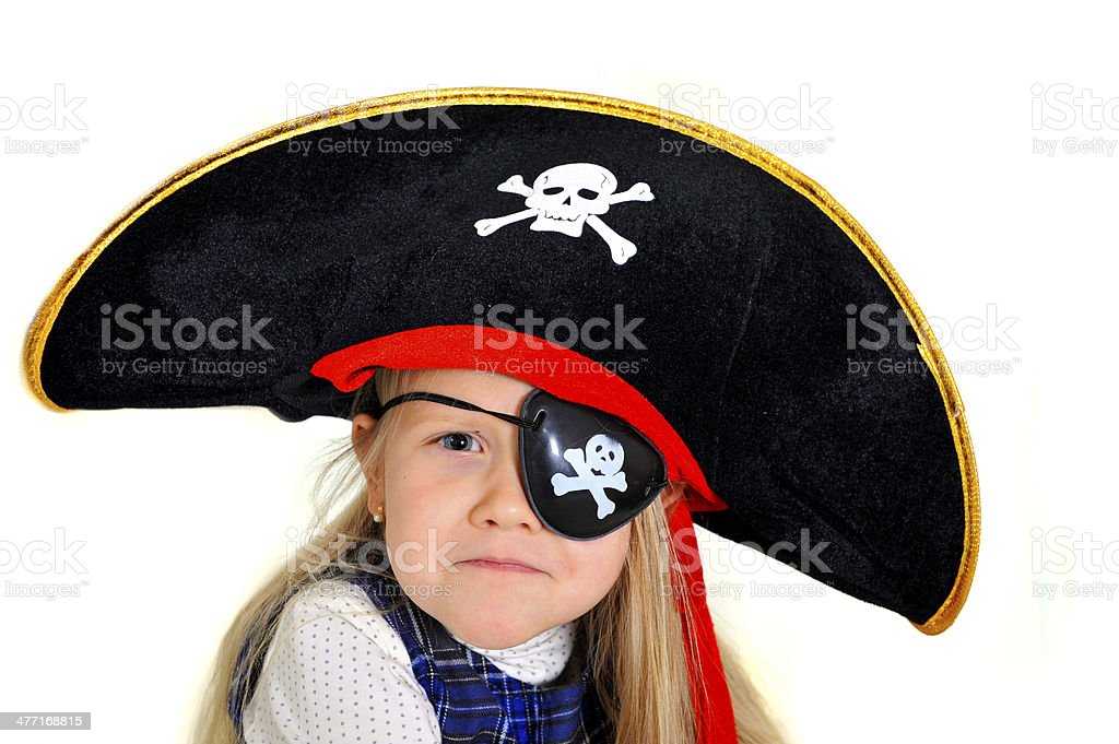 Little Blonde Girl In Pirate Hat And Eye Patch Playing Royalty Free Stock Photo