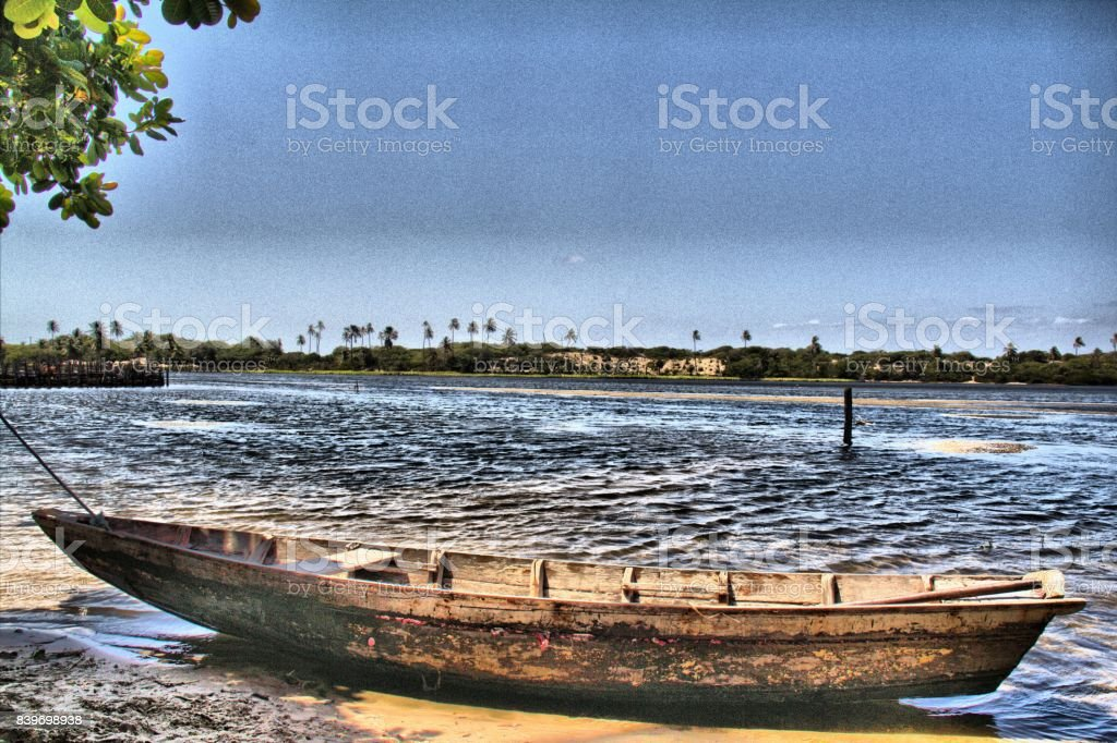 Little boat and The Time. stock photo