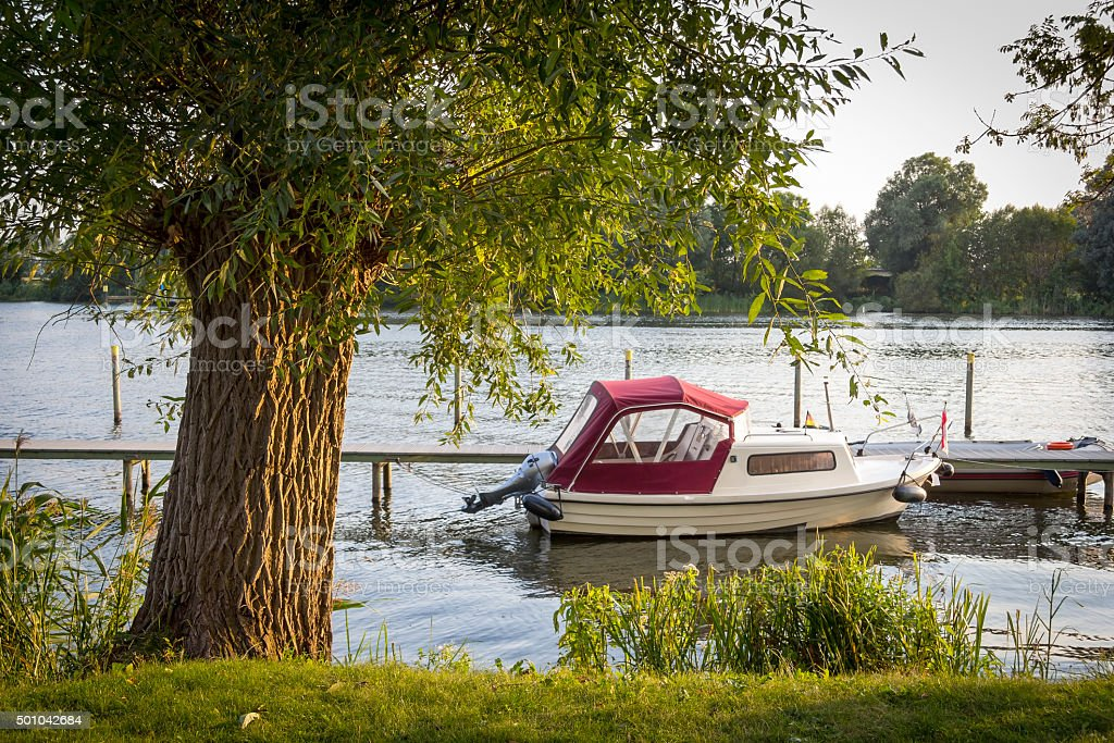 Little boat at the River Havel, Brandenburg stock photo