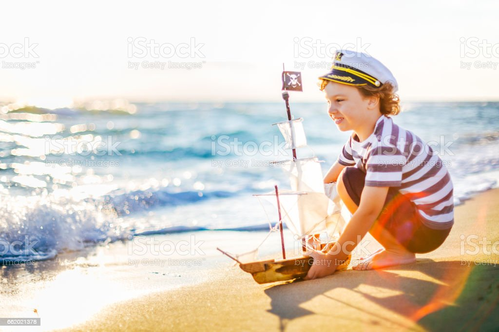 Little boat captain royalty-free stock photo