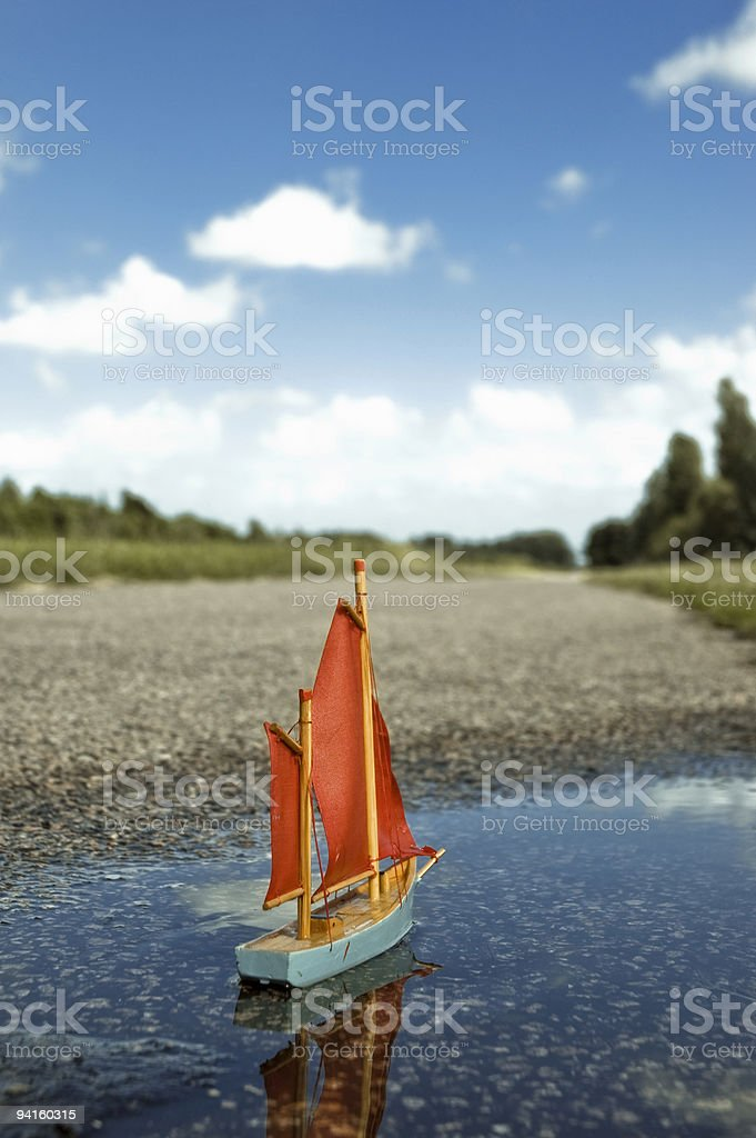 little boat on a journey royalty-free stock photo