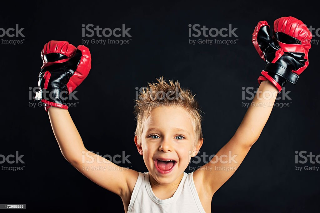 Little boxer victory stock photo