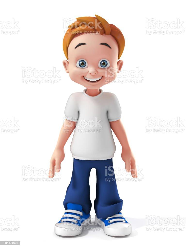little boy 3d isolated illustration stock photo