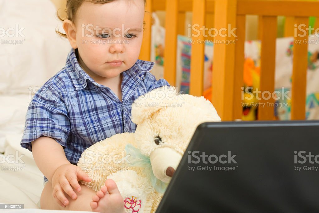 Little boy and bear royalty-free stock photo