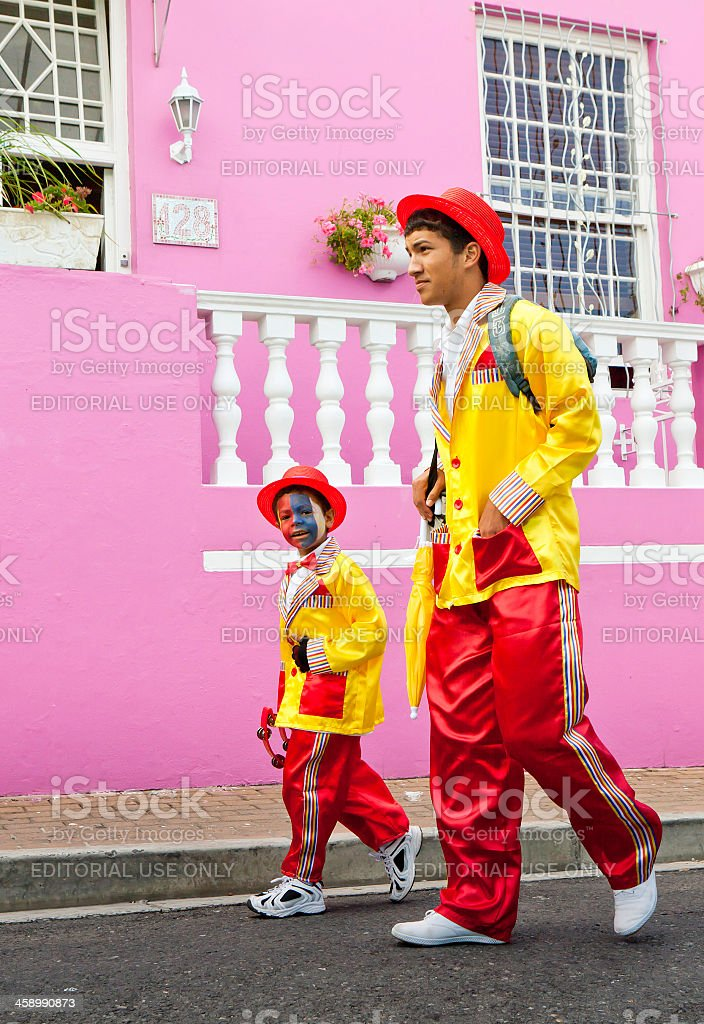 Little boy and brother at Cape Town Minstrels Carnival stock photo