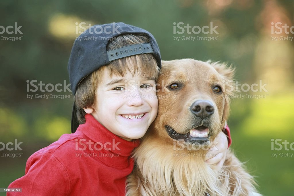 Little Boy and Dog royalty-free stock photo