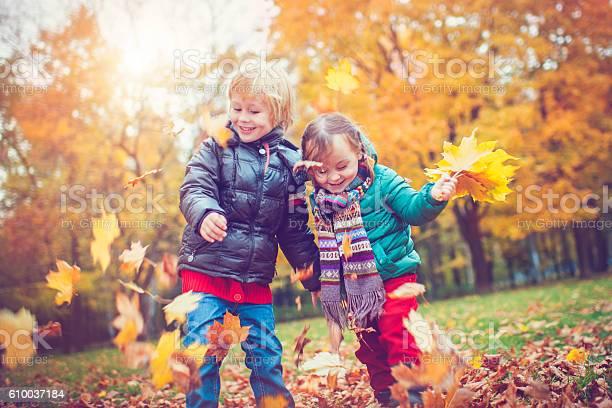 Kleiner Junge Und Mädchen Im Herbstpark Stockfoto und mehr Bilder von 6-7 Jahre