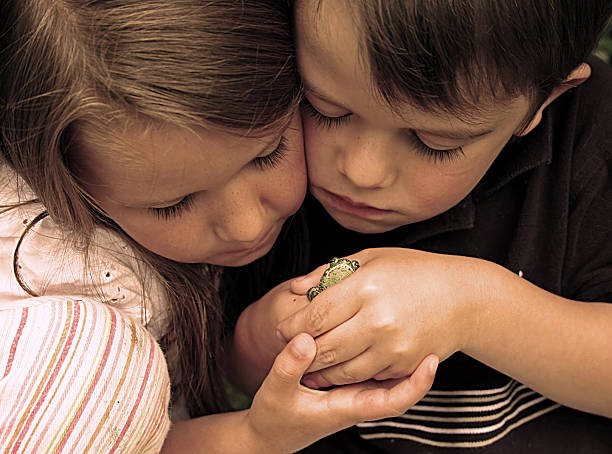 Little Boy and Girl Looking at Frog stock photo
