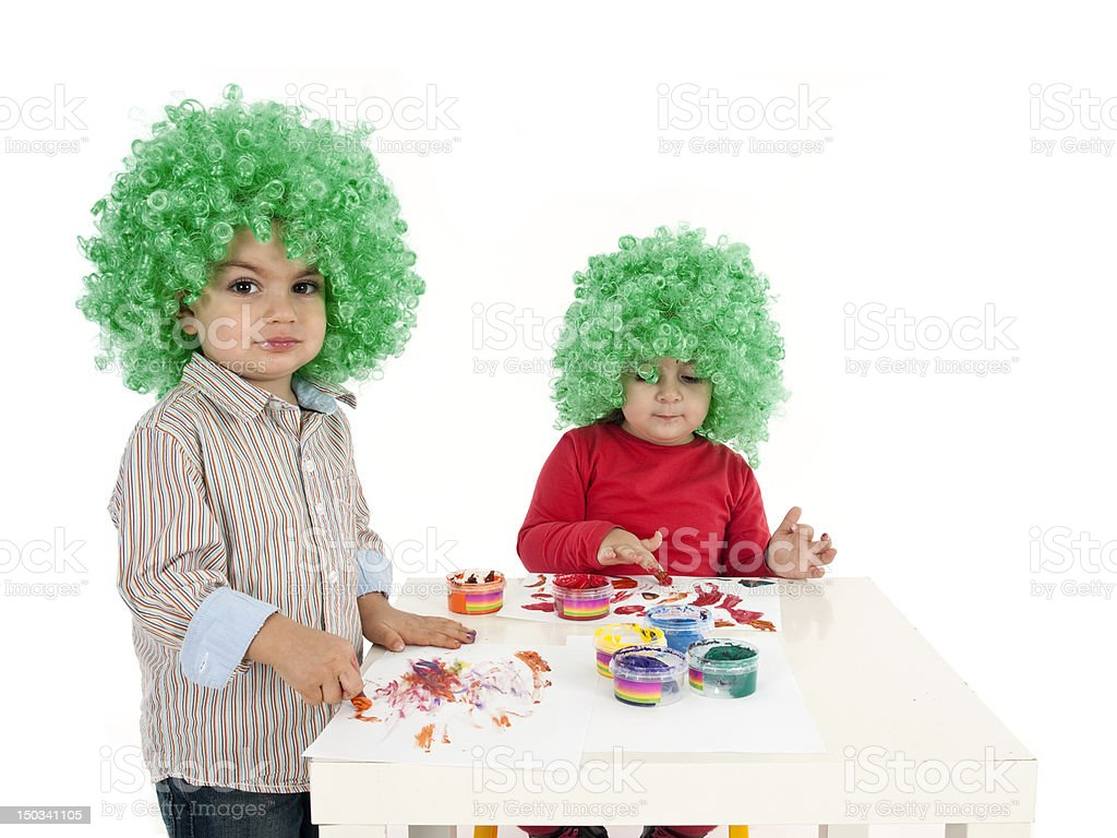 Little Boy and Girl Painting royalty-free stock photo