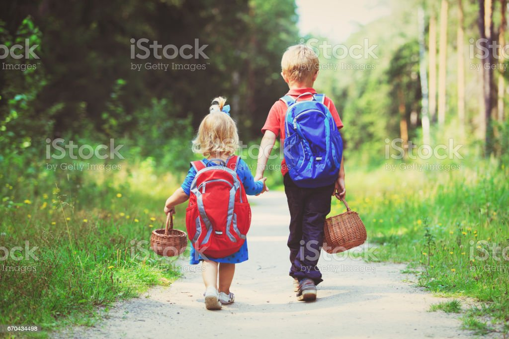 little boy and girl walking in forest stock photo