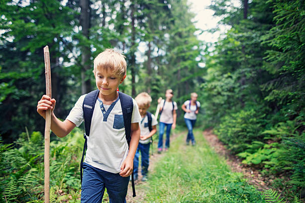 Little boy and his family hiking in forest Little boy and hid family through a dense forest. Kids are aged 6 and 10. field trip stock pictures, royalty-free photos & images