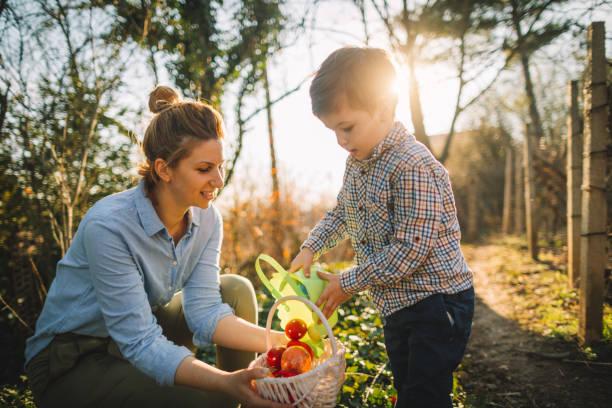 menino e sua mãe na caça aos ovos de páscoa - familia pascoa - fotografias e filmes do acervo