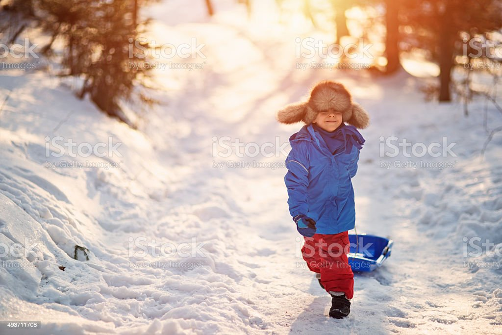 Little boy and his sled in winter worest. stock photo