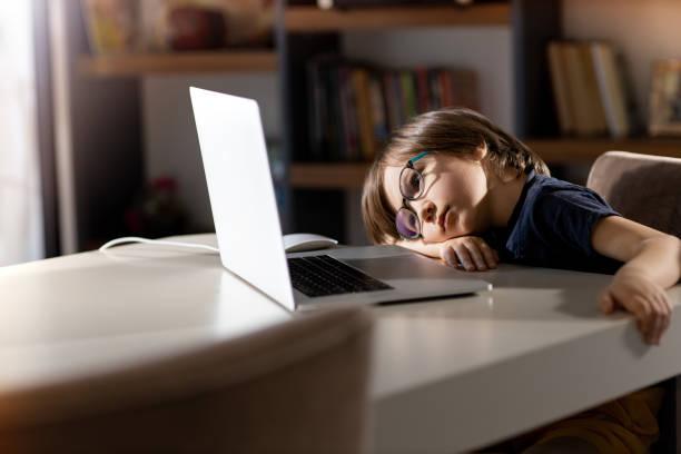Little Boy und Laptop – Foto