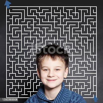 istock Little boy and maze on chalkboard background 1200393508