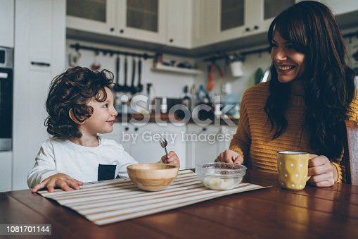istock Little boy and mom on the table 1081701144
