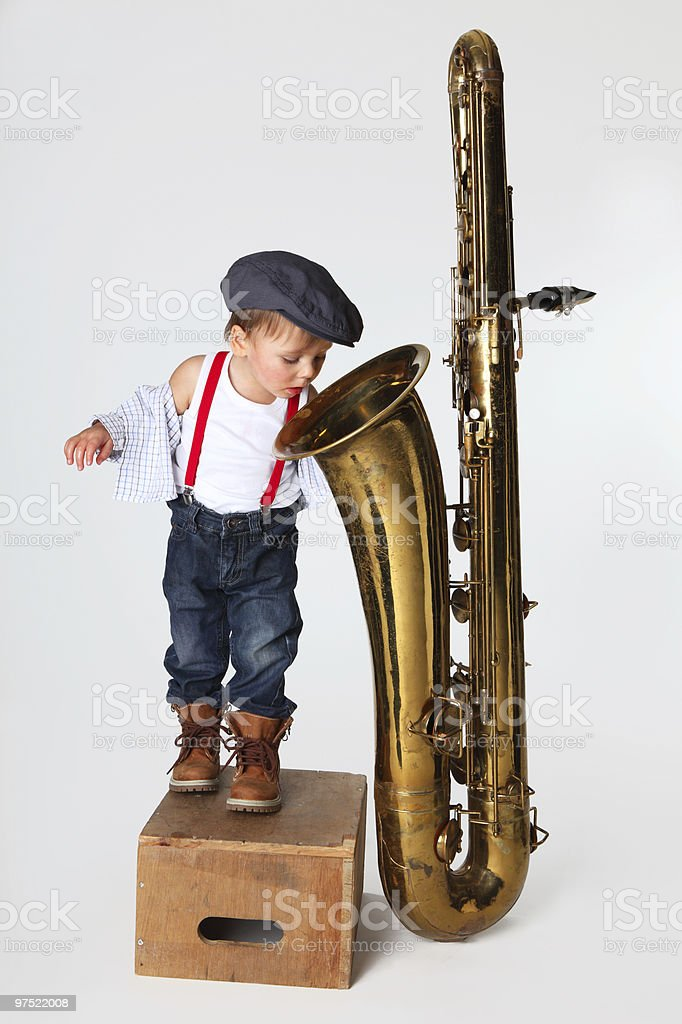 little boy and saxophone royalty-free stock photo