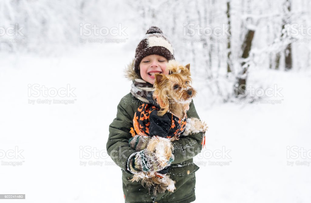 Little boy and small doggy in winter park. stock photo