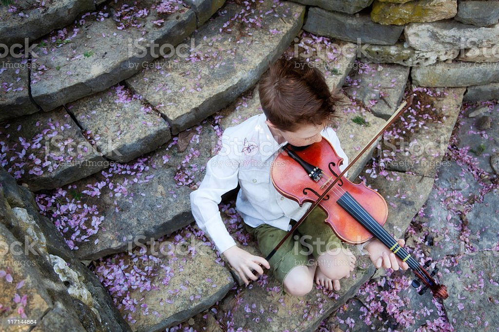 Little Boy and Violin on Stone Steps with Flower Petals royalty-free stock photo