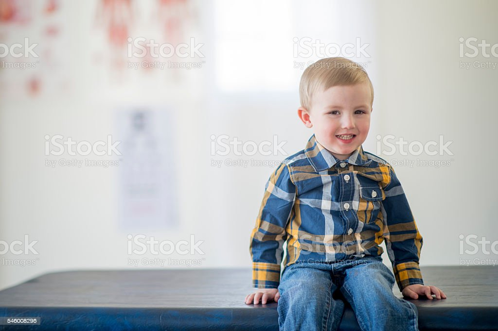 Little Boy at a Check Up stock photo