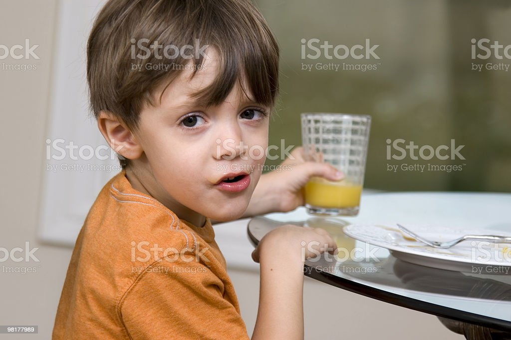 Little Boy at Breakfast royalty-free stock photo