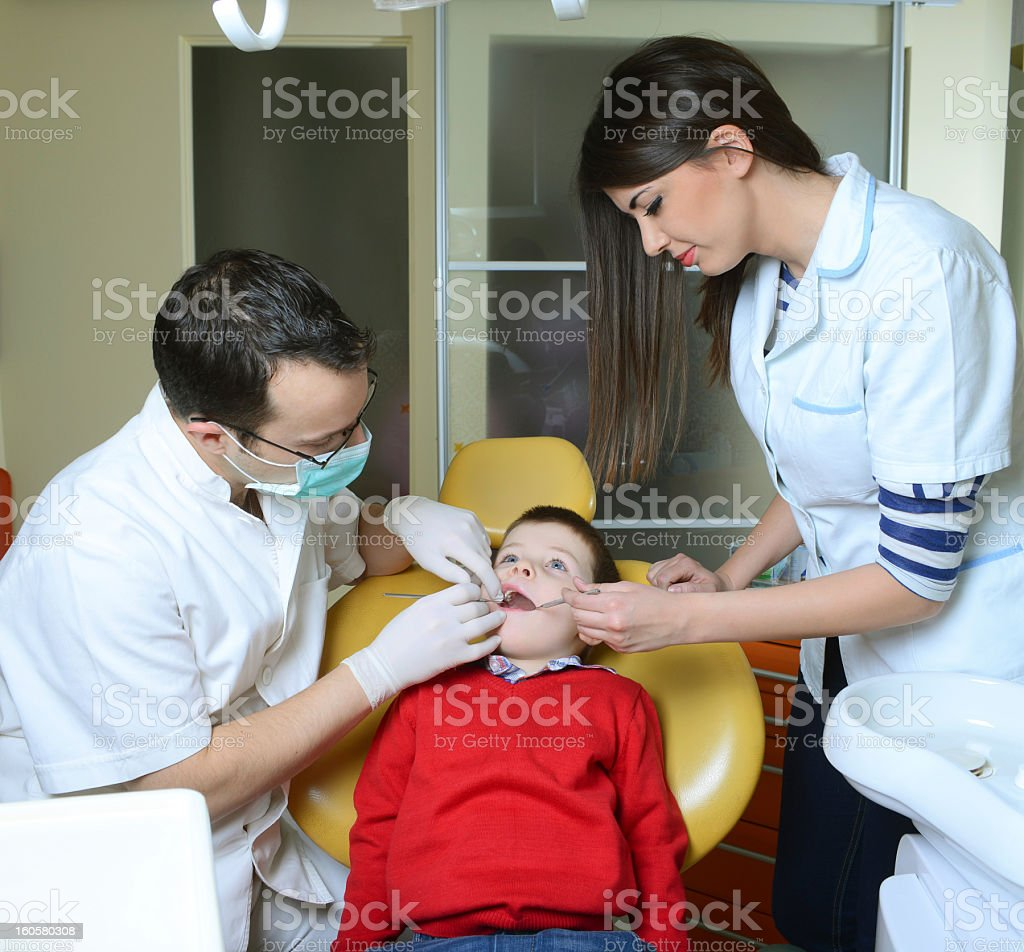 little boy at the dentist royalty-free stock photo